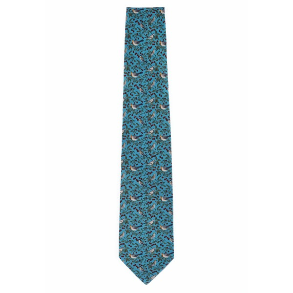 Birds & cherries by Patrick Syme turquoise silk tie