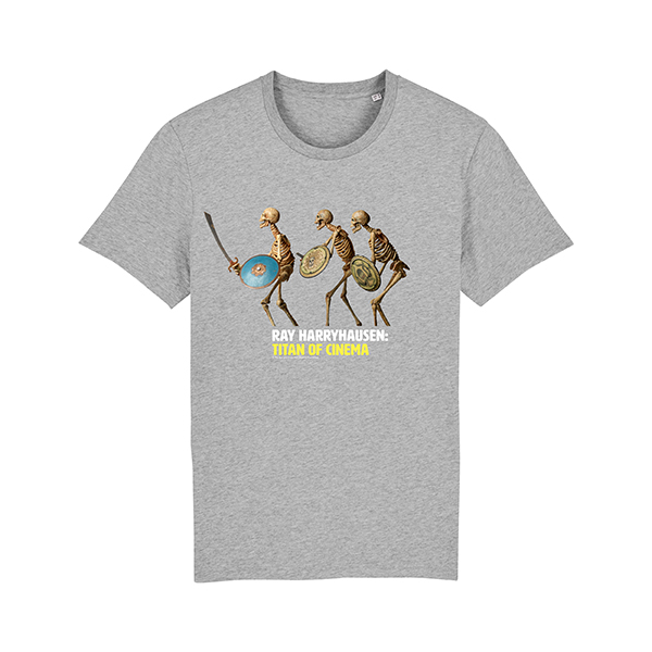 Skeletons from Jason and the Argonauts grey t-shirt (age 7-8)