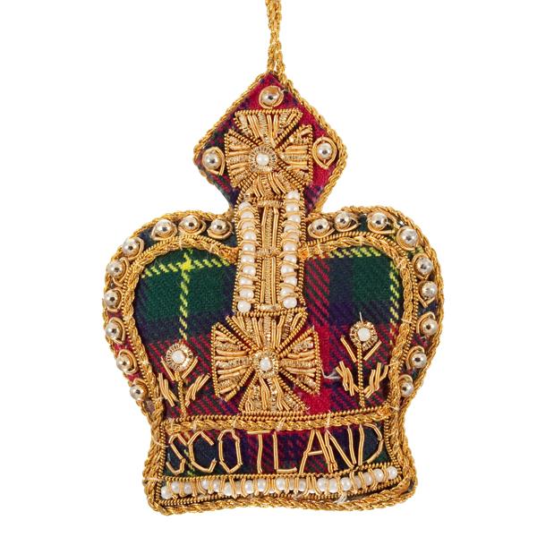 Scotland tartan crown beaded fabric decoration