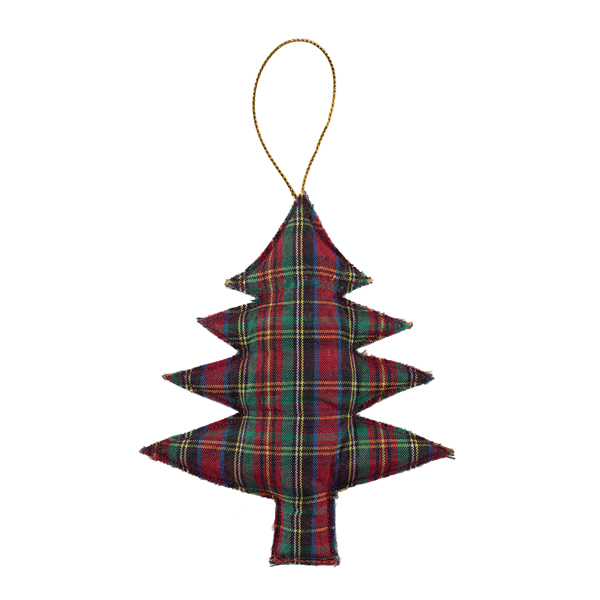Tartan tree beaded fabric Christmas decoration