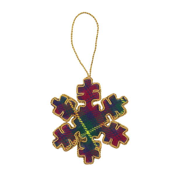 Tartan snowflake fabric decoration