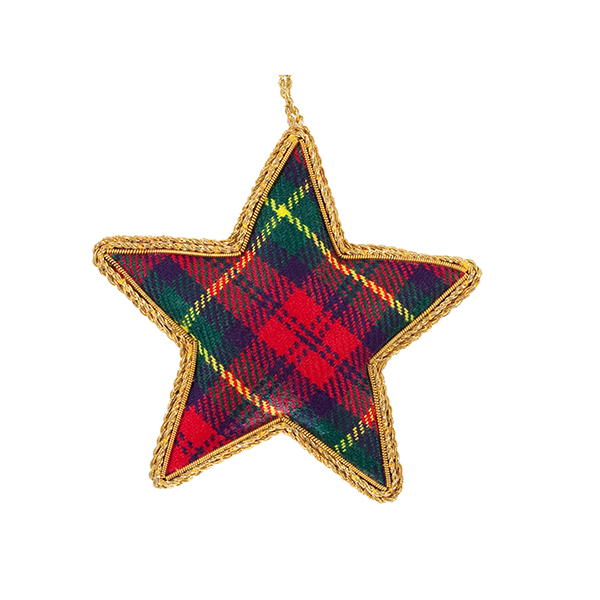 Tartan star fabric Christmas decoration