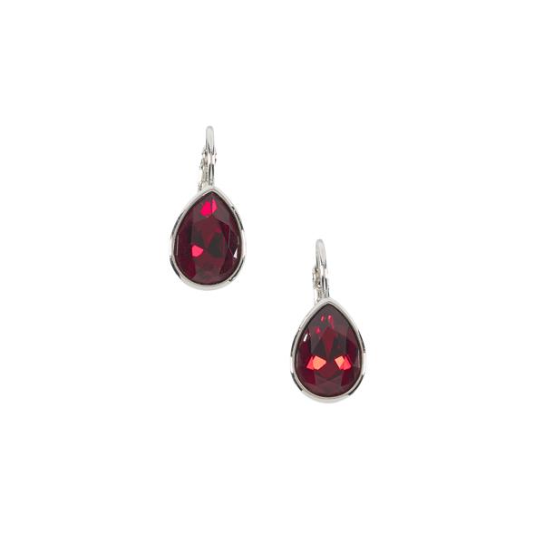 Teardrop red ruby crystal earrings