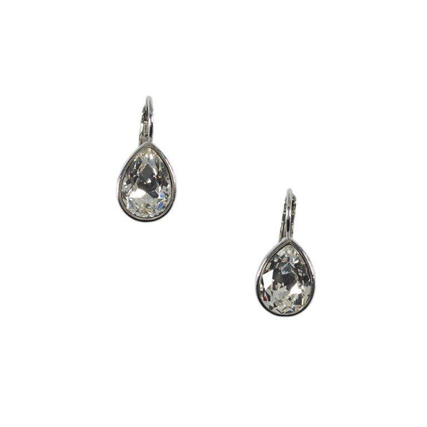 Teardrop white crystal earrings