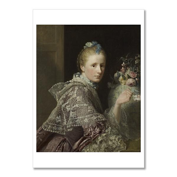 Margaret Lindsay of Evelick, Mrs Allan Ramsay by Allan Ramsay A6 postcard