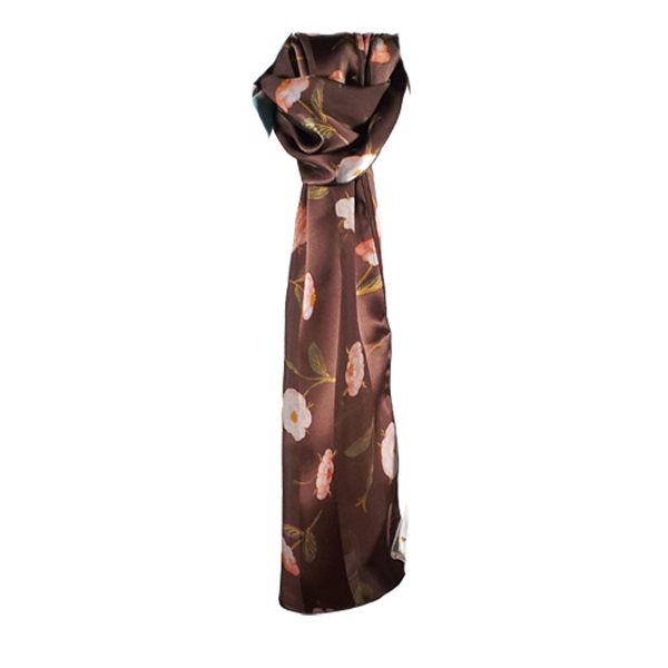 The Birth of Venus by Botticelli floral details brown silk scarf