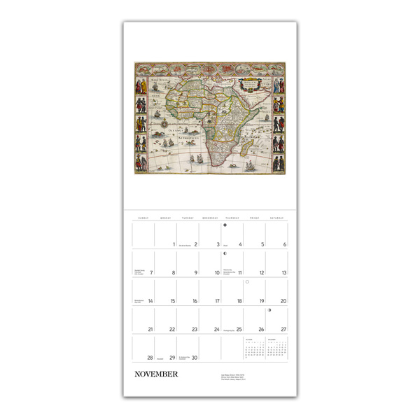 The British Library antique map 2021 wall calendar