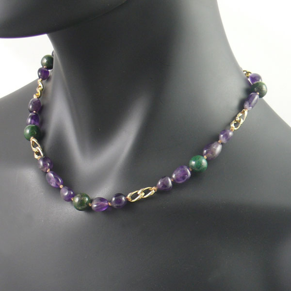 Amethyst and jade necklace
