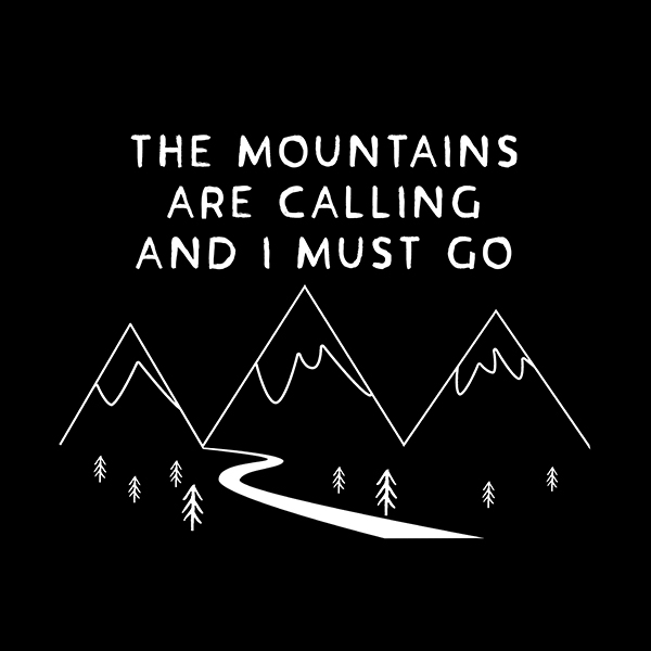 The mountains are calling small cotton black t-shirt