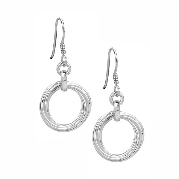 Open rings silver earrings