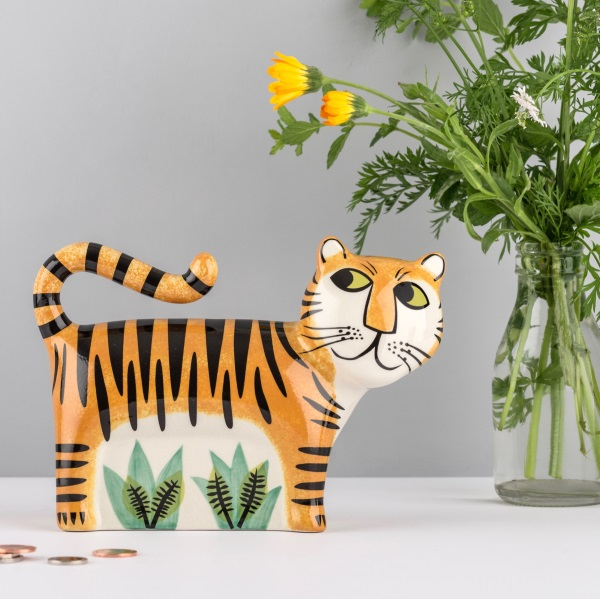 Tiger ceramic money box