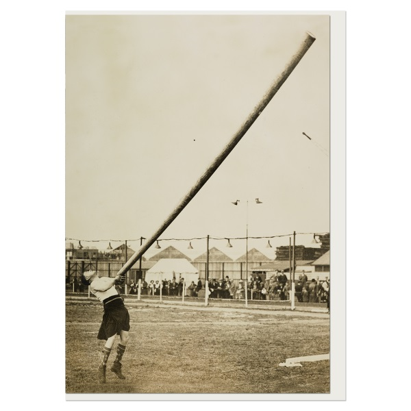 Tossing the caber at professional sports in London greeting card