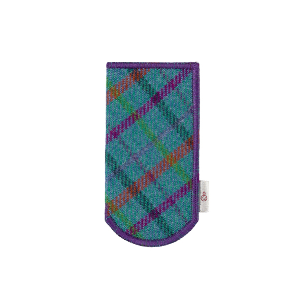 Turquoise checked Harris Tweed glasses case
