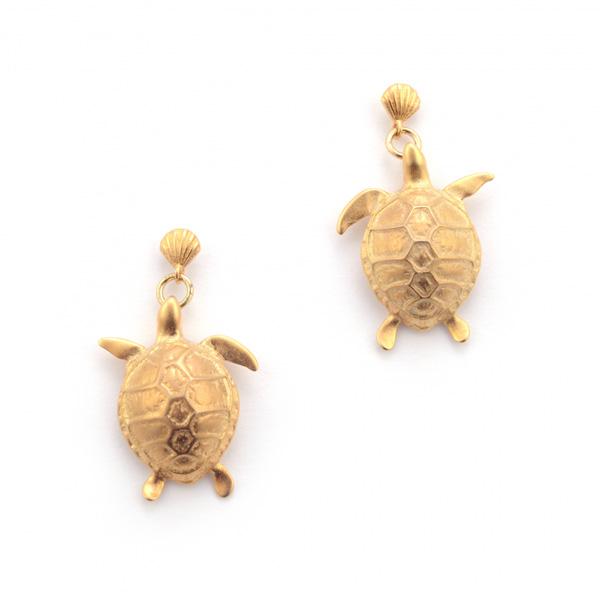 Turtle gold plated drop earrings