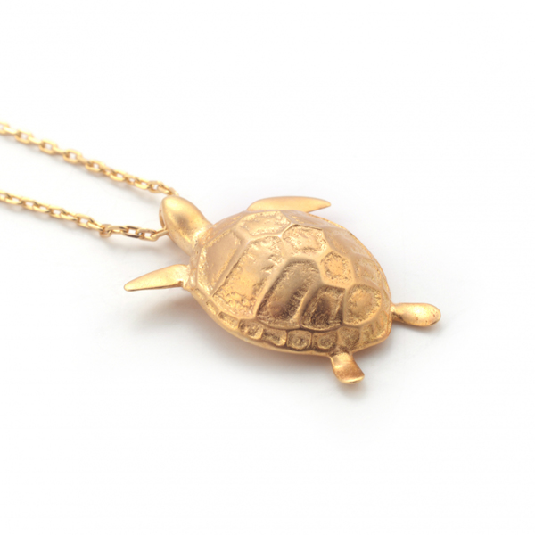 Turtle gold plated pendant necklace