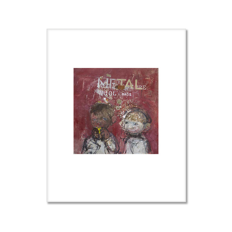 Two children before a lettered wall by Joan Eardley small (25.5 x 20.5 cm) mounted print