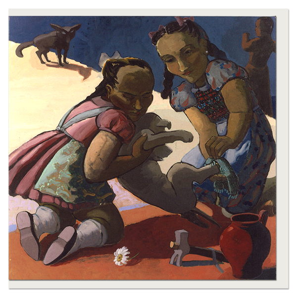 Two girls and a dog by Paula Rego greeting card