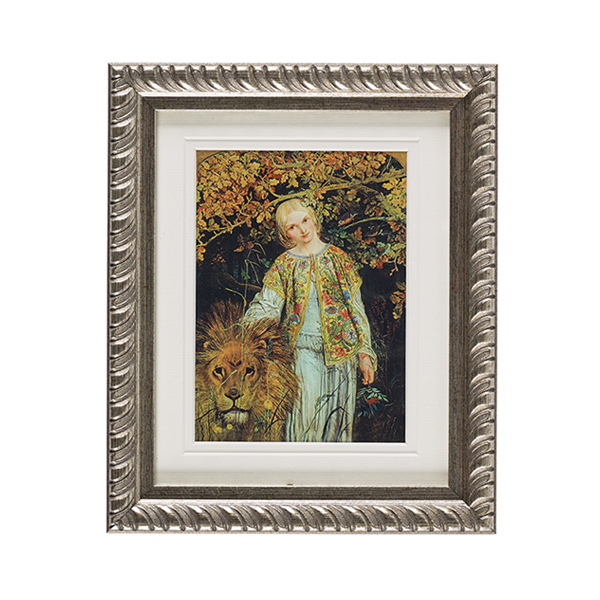 Una and the Lion ready to hang silver ornate framed print