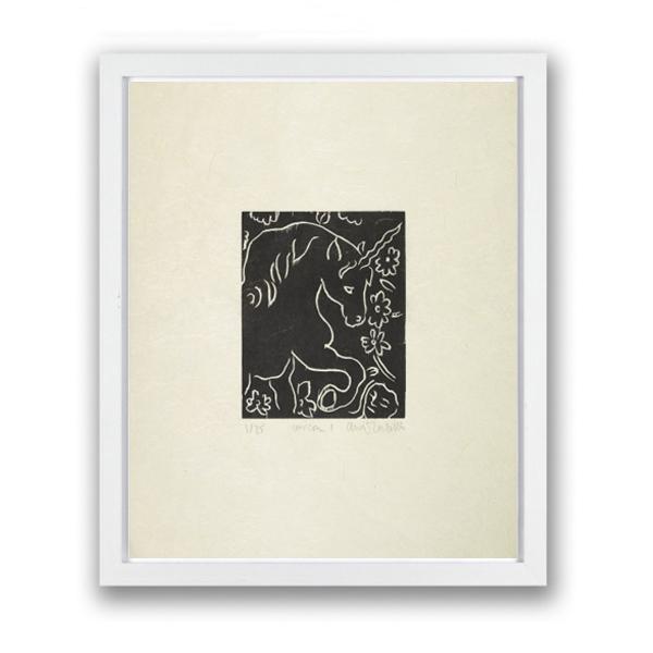 Unicorn I by Adrian Wiszniewski limited edition framed woodcut print