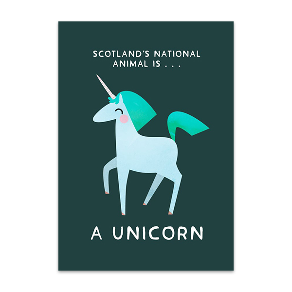 Unicorn Scotland's national animal greeting card
