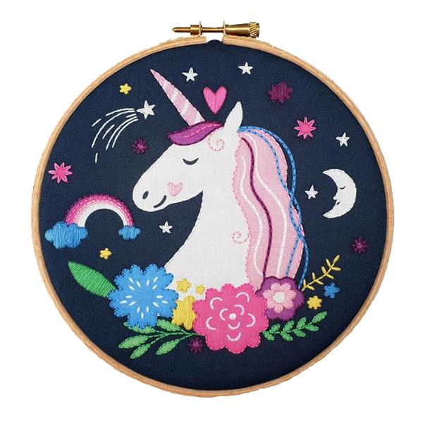 Unicorn hand embroidery kit