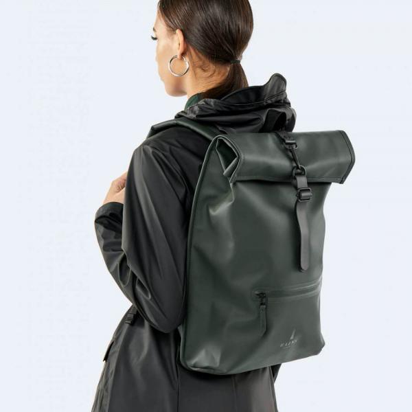 Waterproof green roll top backpack