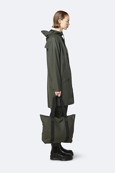 Waterproof green tote bag