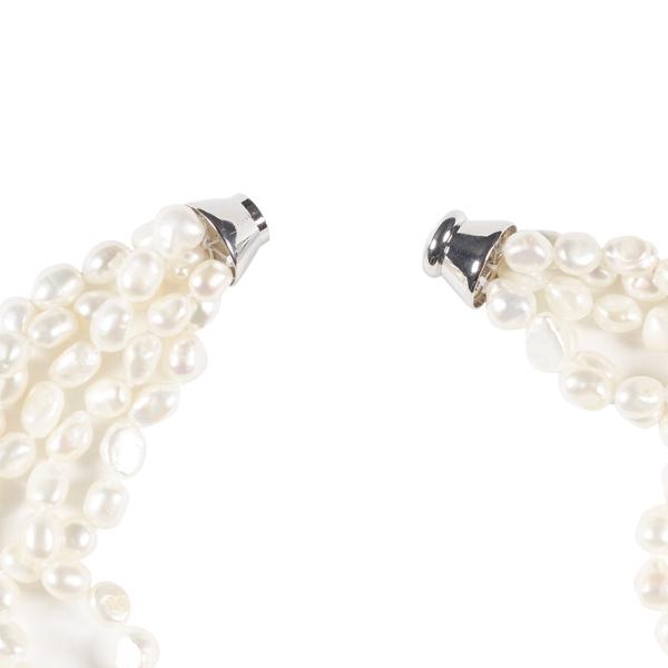 White pearl five strand necklace