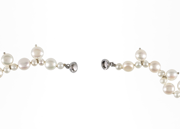 White pearl multiple drop necklace