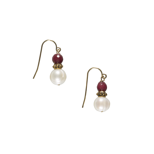 White pearl, brass and red jade earrings