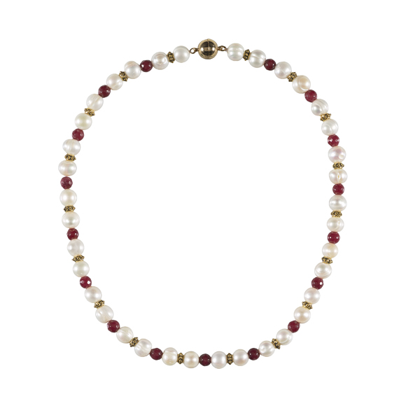 White pearl, brass and red jade necklace