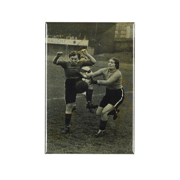 Women's charity football match magnet