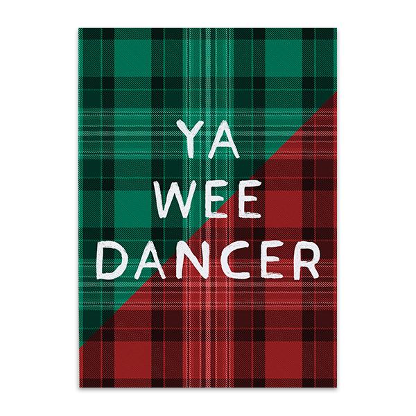 Ya wee dancer tartan greeting card
