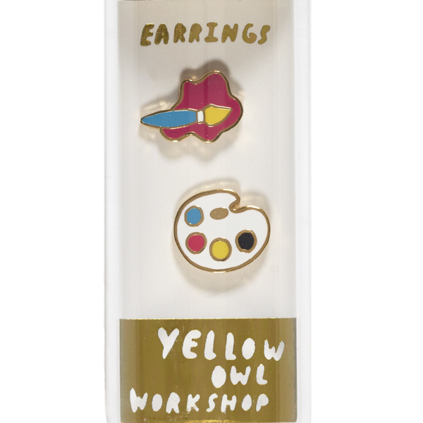 Yellow Owl Workshop Paintbrush & Palette Earrings