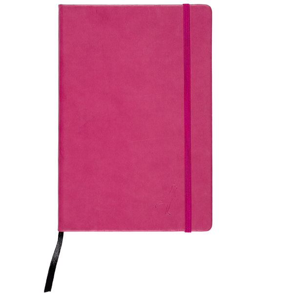 Embossed pink leather lined notebook
