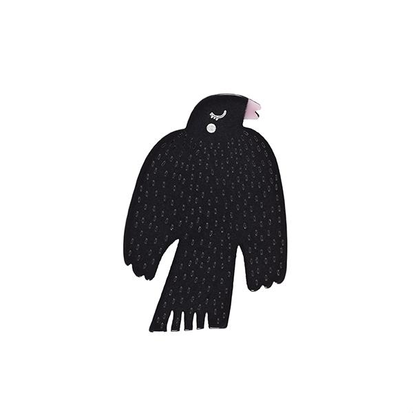 Black bird resin brooch