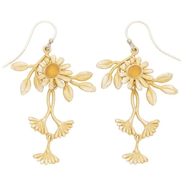 Deco Daisy double dangle drop earrings