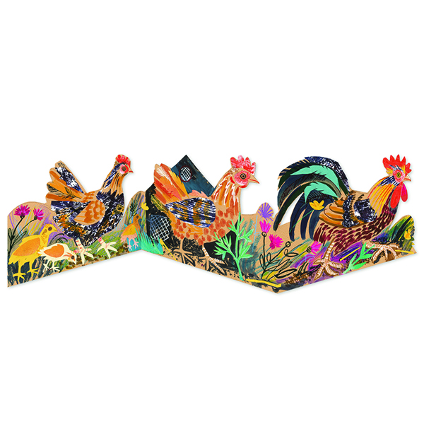 Chickens by Mark Hearld folded greeting card