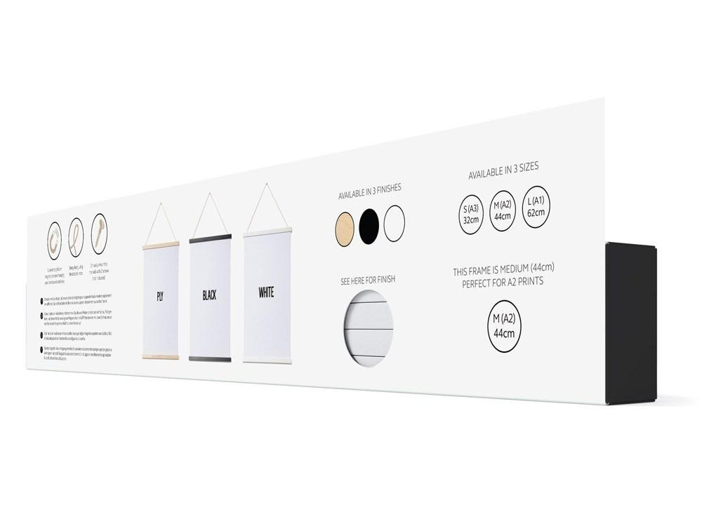 Magnetic wooden poster hanger (White A3)