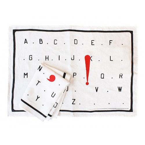 L'Alphabet by Marcel Broodthaers tea towel