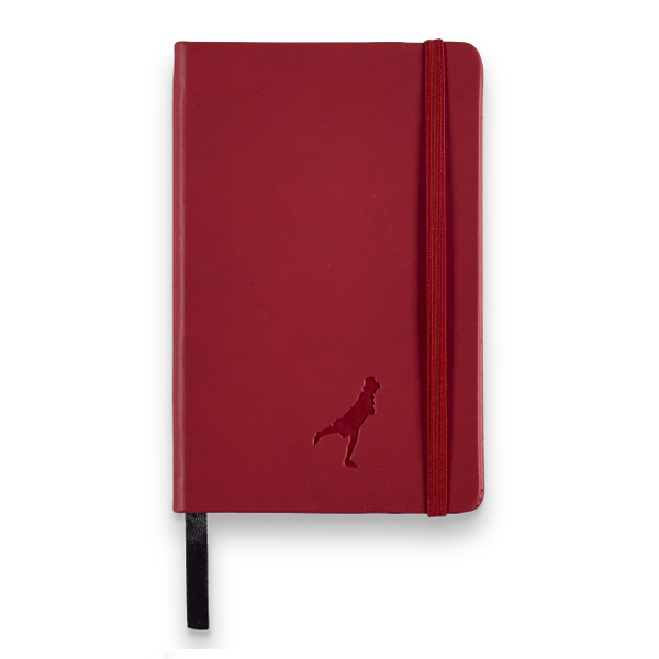 Embossed red leather small lined A5 notebook