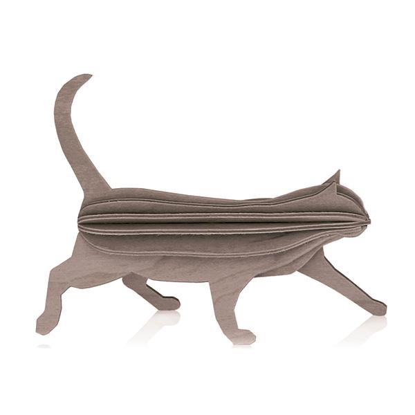 Grey cat wooden flat pack construction kit (12cm)