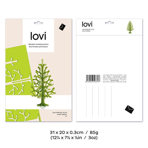 Dark green spruce wooden flat pack decoration kit (14cm)