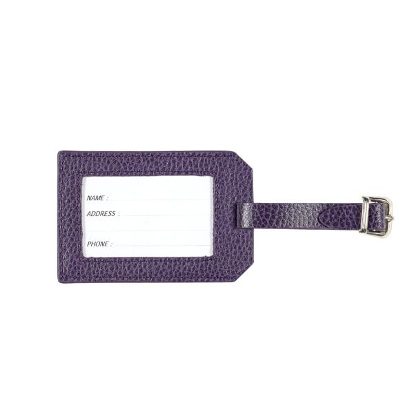 Embossed aubergine purple leather luggage tag