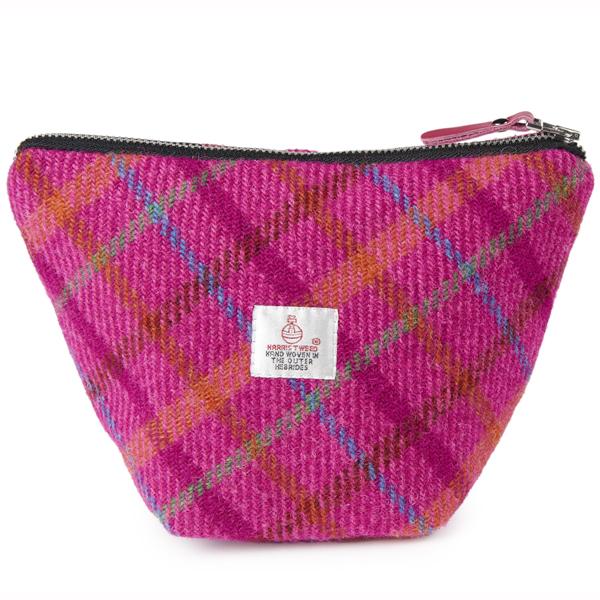 Pink checked Harris Tweed small cosmetic bag