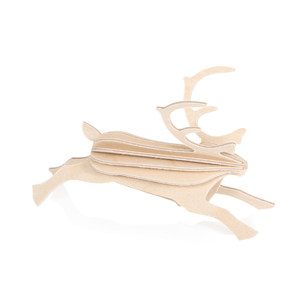 Natural wood reindeer wooden flat pack Christmas decoration kit (12cm)