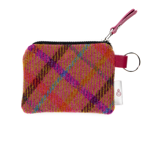 Clare O'Neill Purse Orange Check Harris Tweed