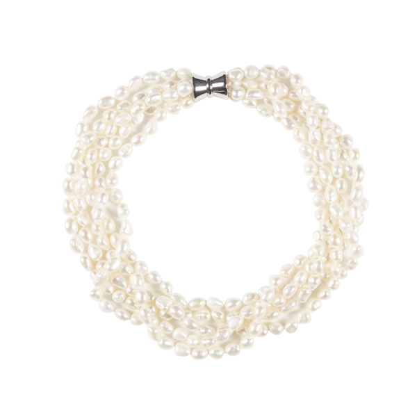 The Real Pearl 5 Strand White Pearl Necklace