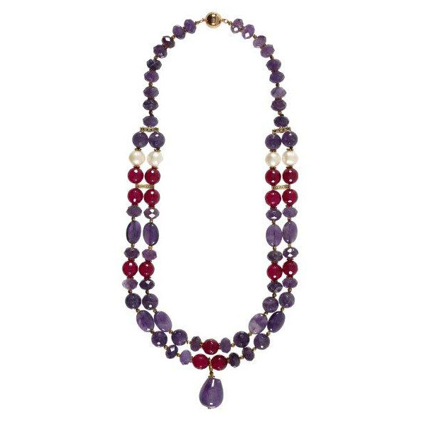 2-strand amethyst, red jade, brass and pearl necklace