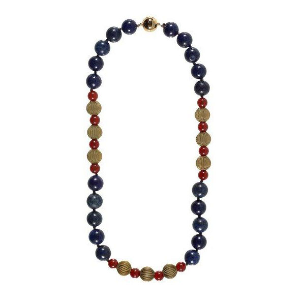 Lapis lazuli, red jade and brass bead necklace